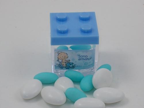 Gastgeschenk Bomboniere Legosteine blau