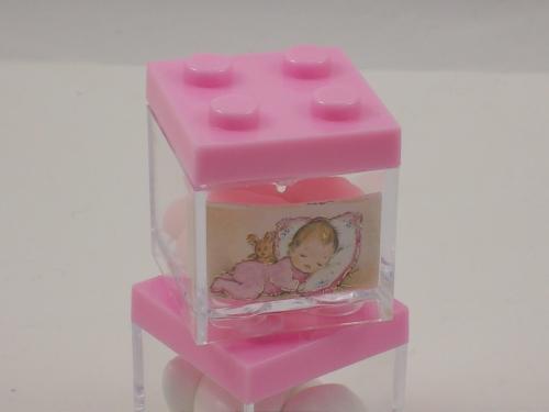 Gastgeschenk Bomboniere Legosteine rosa