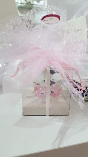 Bomboniere Gastgeschenk, Kristall Schmetterling in rose Set